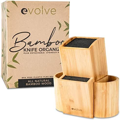 "100% Authentic Bamboo Universal Kitchen Knife Block - Covers Knife Blades Up To 10"" - Holds Up To 20 Knives, 100% Natural Bamboo, Machine Washable & BPA Free Flex Rods - Kitchen Knife Holder"