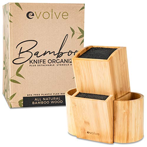 Evolve Bamboo Knife Block - Universal Kitchen Knife Holder - Safe & Space Saver Knife Storage that Covers Knife Blades Up To 10' & Holds Up To 20 Knives with Machine Washable & BPA Free Flex Rods