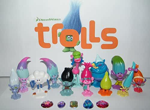 Dreamworks Trolls Movie Deluxe Figure Toy Set of 17 with