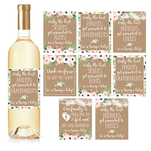8 Pregnancy Announcement Gifts, Announcing New Baby Reveal, Funny Wine Bottle Labels or Stickers For Parents to Grandparents, Brothers Sisters Promoted to Aunts Uncles, Surprise Best Friends Expecting (Only The Best Sisters Get Promoted To Aunt)