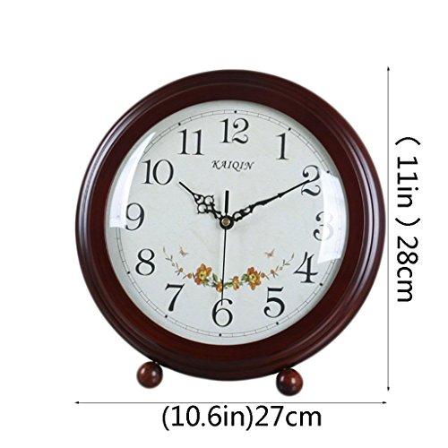 HAOFAY Desktop Clock, Vintage European Personality Brown Bedside Battery Powered Quartz Clock by HAOFAY (Image #2)