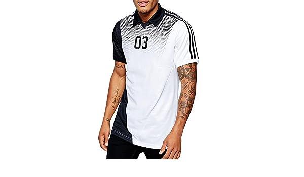adidas Originals para Hombre fútbol Jersey Cuello en V Top, Blanco ...
