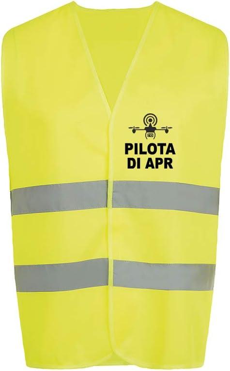 Fashion Graphic Gilet Multitasche Pilota di Apr Drone Operatore Assistente Tecnico Video Sapr Alta visibilit/à Giallo Giubbotto Tre Taglie Catarifrangente Sicurezza Conforme Enac Pilota di Apr, L