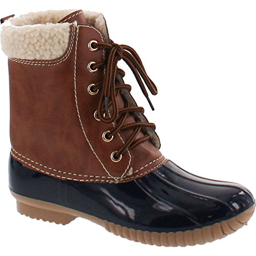 AXNY Dylan-3 Women's Two Tone Lace Up Ankle Rain Duck Boots One Size Small,Navy,10