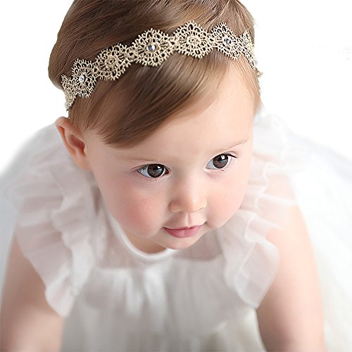 RQJ Baby Girl Stretchy Diamond Gold Headbands Lace Flower Princess Hair Crown Wreath for Infant Girl Head (Crown Head Band)