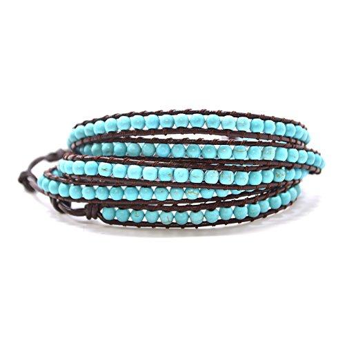 Brown Genuine Leather Wrap Turquoise Aqua Beaded Wrap 23 or 34 Inch Small Large Bracelet Fashion Bohemian Boho Style Jewelry (34 Inches) (Beaded Wrap Bracelet)