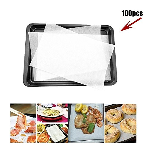 100 Pack Non-Stick Square Parchment Paper Baking Sheets P...