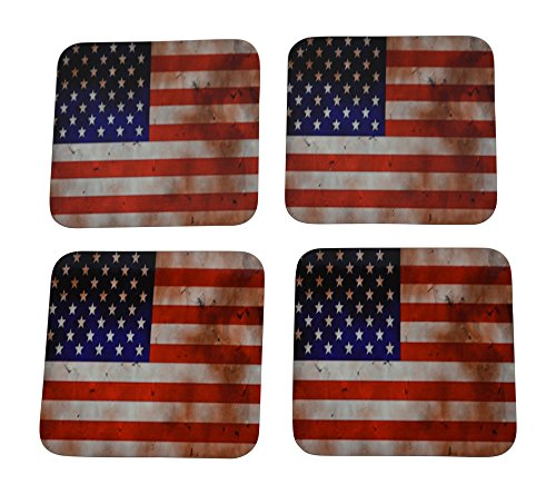 Patriotic USA Flag Drink Coaster Set Gift United States of America Home Kitchen Bar Barware Tattered