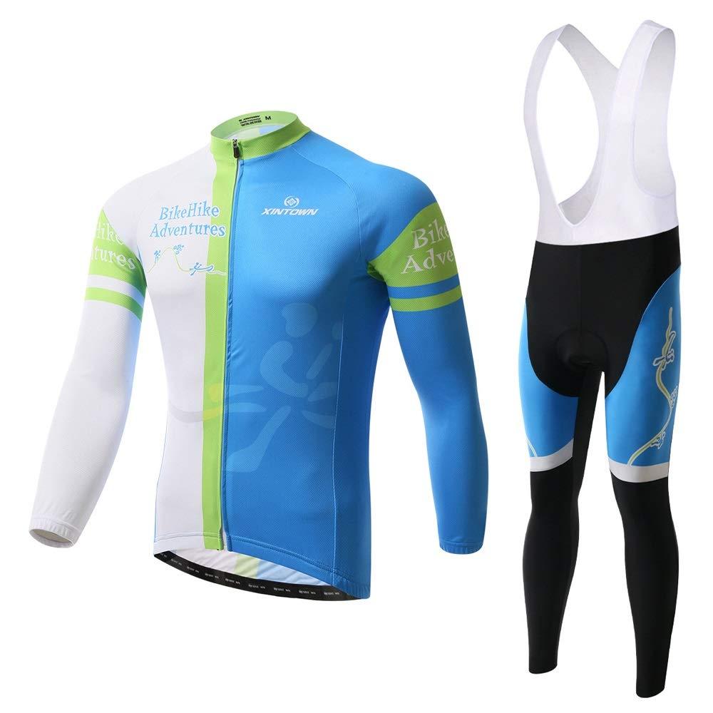 Pinjeer Frühling Herbst Pro Jugendliche Männer Langarm-Radtrikot Kleidung mit Lätzchen Sets atmungsaktive Outdoor Sportswear Bike Riding Jersey Männer Sets
