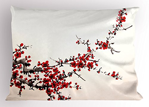 Art Pillow Sham by Ambesonne, Elegance Cherry Blossom Sakura Tree Branches Ink Paint Stylized Japanese Pattern, Decorative Standard Queen Size Printed Pillowcase, 30 X 20 Inches, Red Cream Brown