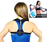 Back Posture Corrector Brace for Women and Men - Comfortable and Adjustable Clavicle Support for Upper Back - Helps with Upper Back Pain - Includes Resistance Band and Armpit Pads