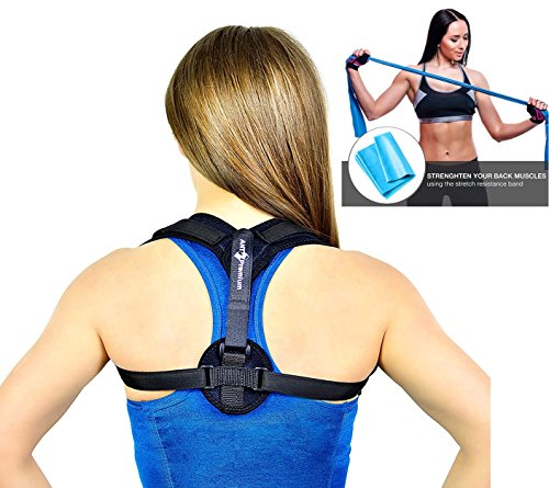 Back Posture Corrector Brace for Women and Men - Comfortable and Adjustable Clavicle Support for Upper Back - Helps with Upper Back Pain - Includes Resistance Band and Armpit Pads by Ant Premium