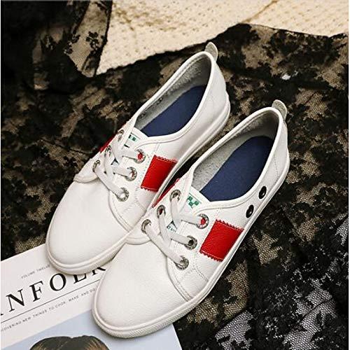 Blanco Zapatos Plano Verano Primavera Black con Negro Mujer Zapatillas Punta Deporte Rojo tacón de PU de Poliuretano Cerrada ZHZNVX ZBqdwZ