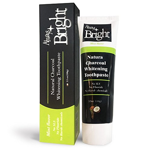 Always Bright - Activated Charcoal Teeth Whitener Toothpaste - Organic Bamboo Charcoal Toothpaste - New Intensive Natural Formula for Teeth Whitening with Coconut Oil and Bicarbonate – Mint ()