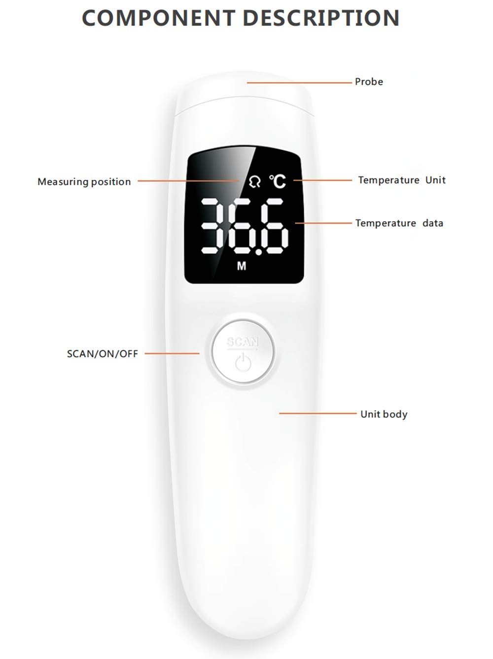 2 in 1 Infrared Thermometer No-Touch Infrared Thermometer for Indoor and Outdoor Use
