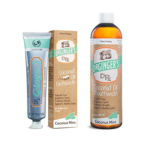 Dr. Ginger's Coconut Oil Pulling Mouthwash & Whitening Toothpaste Bundle (All Natural, No Sugar, No Fluoride, No Artificial Flavors or Sweeteners)
