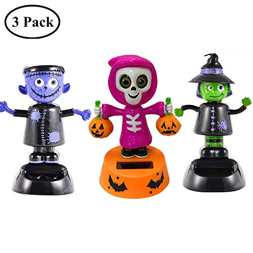 Yunhigh Solar Dancing Toys Halloween Ornament Bobblehead Figures Skulls Skeleton Pumpkin Car Dashboard Decoration Office Desk Home Decor - 3 Pack]()
