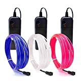 EL Wire, ESCOLITE EL Wire Kit Neon Lights Battery Pack Christmas Tree,Easter Halloween DIY Decoration,Home Deco 5 1-Meter, 1m / 3ft (9ft/3m Blue White Pink)