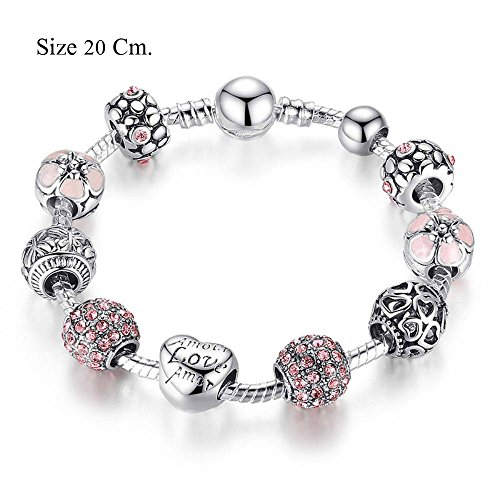 Rope Fancy Bracelet (European 925 Silver Charms Bracelet with Pink CZ beads For Women Mother's Day By Wat (20cm.))