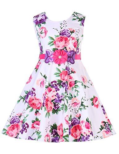 PrinceSasa Girls Sleeveless Vintage Print Swing Party Dresses,f09B,48''/4-5 Years(Size ()