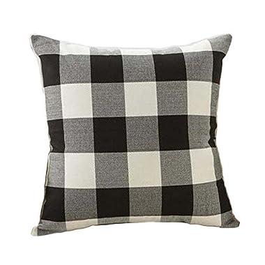4TH Emotion 24 x 24 Inch Black White Buffalo Check Plaids Throw Pillow Case Cushion Cover Retro Farmhouse Decoration Couch Sofa Bed