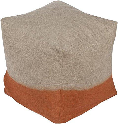 Surya DDPF007-181818 100-Percent Linen Pouf, 18-Inch by 18-Inch by 18-Inch, Light Gray/Burnt Orange