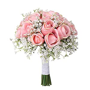 Takefuns Wedding Bouquet, Febou Big Size White Bridesmaid Bouquet Bridal Bouquet with Crystals Soft Ribbons, Artificial Rose Flowers for Wedding, Party and Church 5
