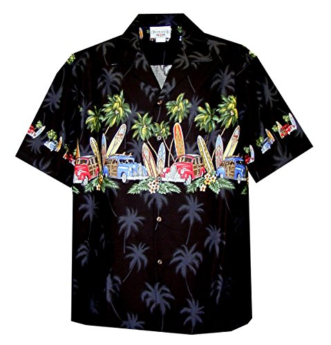 (Pacific Legend Men's Old Time Woodie Surfboard Hawaiian Shirt Black 4X)