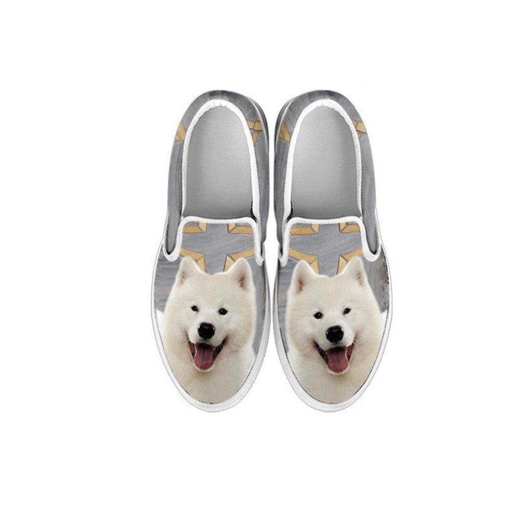 1 Youth Kids Slip ONS- Samoyed Dog Print Slip-ONS Shoes for Kids EU32 , Gray
