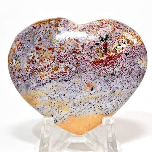 - 45mm Ocean Jasper Heart Natural Multicolor Crystal Sparkling Orbicular Orbs Mineral Polished Love Stone Heart - Madagascar