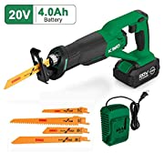 #LightningDeal Cordless Reciprocating Saw – 20V 4.0Ah Compact Saw w/Li-Ion Battery&Charger, 4 Saw Blades, Variable Speed, 3/4 Stroke Length, Tool-Free Blade Change Ideal for Metal & Wood Cutting Pruning–KIMO 23802