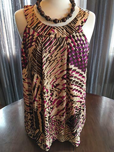 (Custom Couture XL purple and brown abstract print tunic with custom brown necklace 1755)