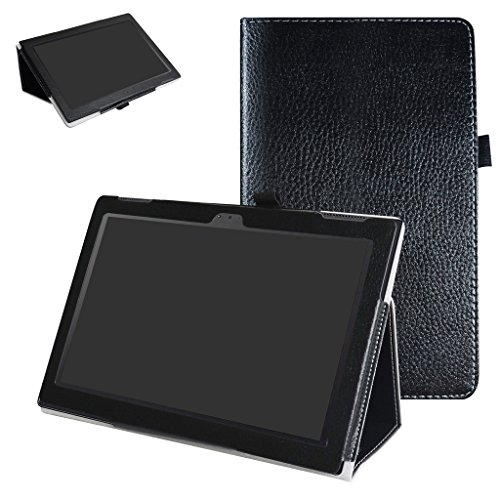 "Lenovo Tab 4 - 10 Inch Case,Mama Mouth PU Leather Folio 2-folding Stand Cover with Stylus Holder for 10.1"" Lenovo Tab 4 - 10 Inch ZA2J0007US Android 7.1 Tablet,Black -  Bigmouthstore"