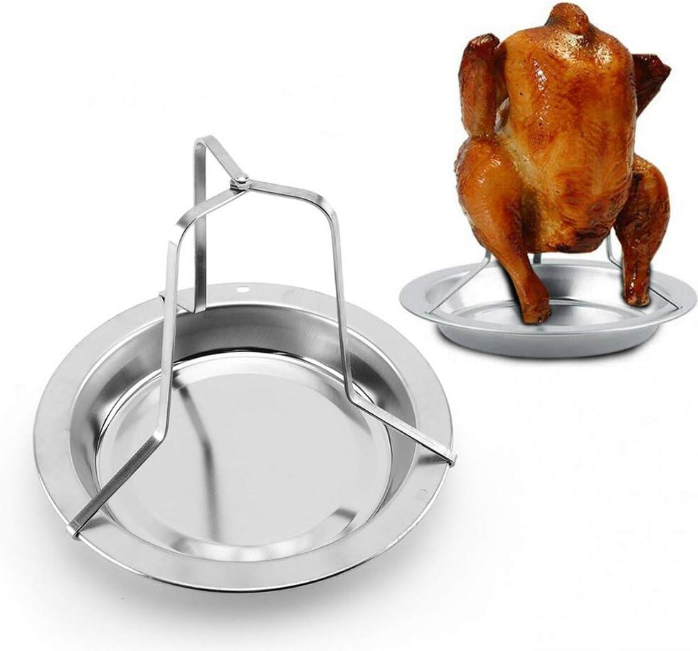 RENNICOCO Chicken Roaster Rack Bierdose Klappbarer vertikaler Brath/ähnchenhalter aus Edelstahl mit Auffangwanne f/ür Backofen oder Grillzubeh/ör