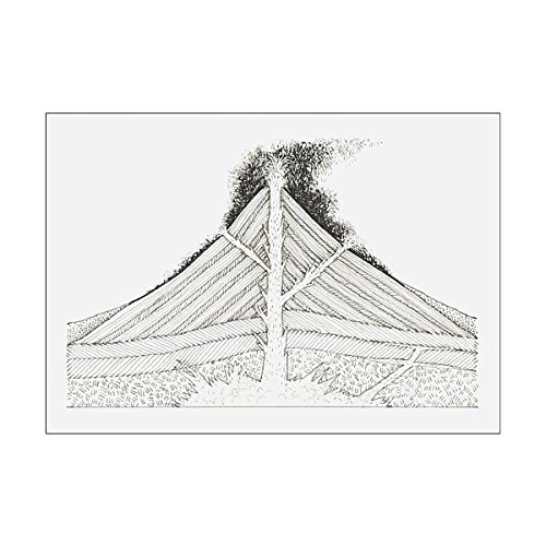 Cross Section Volcano - A1 Poster of Black and white illustration of active volcano, cross-section (13536281)