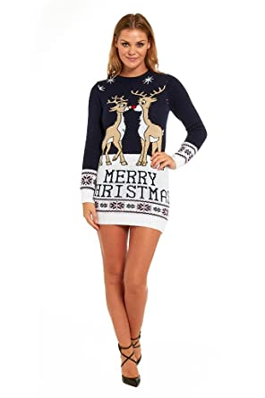 Womens Ugly Christmas Sweater Dress.Ladies Christmas Sweater Dress Womens Tunic Xmas Fairisle