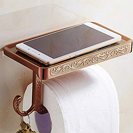 Royal Luxury Carved Retro Stainless Steel Bathroom Mobile Tissue Rack Toilet Paper Rack Ivory White Gold Toilet Tissue Box Toilet Roll Holder, White LXXQ