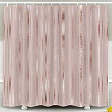 Tooperue Shower Curtains, Shower Curtain for Bathroom with Hooks Elegant Geometric Pattern Rose Gold Golden Vertical Stripes 72×72 Inch,Eco-Friendly,No Oder,Waterproof