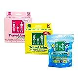 Travel John Disposable Urinal Family Pack for Men, Women & Children - Portable Resealable Urine Bags for Traveling, Camping, Hiking - Odorless, Hygienic, Non-Toxic - Bundle of 3 John, 3 Jane, 3 Jr