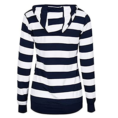 LOOLY Women Plain Zipper Spring Hoodie Striped Hooded Jacket (Thin): Clothing