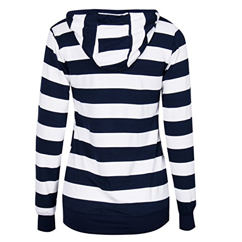 Women Plain Zipper Spring Hoodie Striped Hooded Jacket at Amazon ...