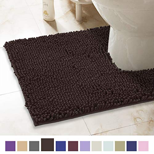 ITSOFT Non-Slip Shaggy Chenille Toilet Contour Bathroom Rug with Water Absorbent, Machine Washable, 21 x 24 Inches U-Shaped Chocolate Brown (Throw Rug Brown Chocolate)
