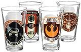 Zak Designs SWRH-4240 Star Wars Ep7 Glass Tumbler 4 Piece Window box, 16 oz, Multicolor