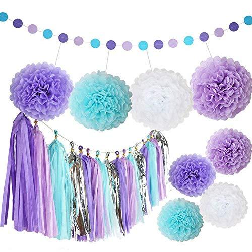 J-Rijzen Tissue Pom Poms Paper Flowers Set for Baby Shower Birthday Wedding Party Office Studio Shop Window Decorations (25PCS Purple+Blue+White)