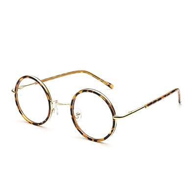 Huicai Lunettes pour Hommes Femmes - Clear Lens Lunettes de mode rétro Lunettes de métal rondes