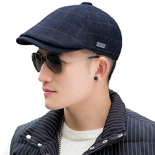 Siggi Irish Wool Driving Tweed Flat Cap for Men Plaid Newsboy Ivy Caps Winter Hat Navy (Blue Tweed Wool)