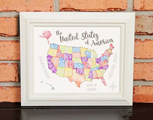 US Map - Watercolors - Hand drawn - Children's Art - TEACHER GIFT - Kids Playroom Décor - United States of America - US Geography - Typography - Primary Colors - Pastels - UNFRAMED Poster Print - Kid Drawn Classroom