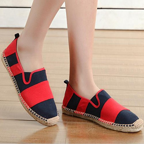 Moda Lvguang Donna Tinta Casuale Scarpe Slip Rosso Espadrillas on Loafers Unisex Uomo Scarpe Unita Basse Flats YqrxTYp