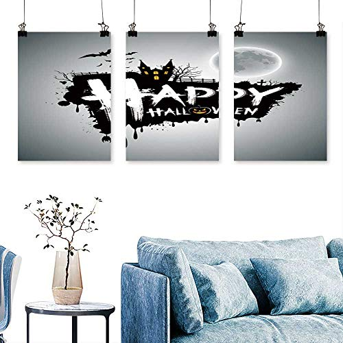 SCOCICI1588 3-Piece Home Decoration Happy Halloween Message Design Background,Vector to Hang for Living Room No Frame 16 INCH X 24 INCH X -