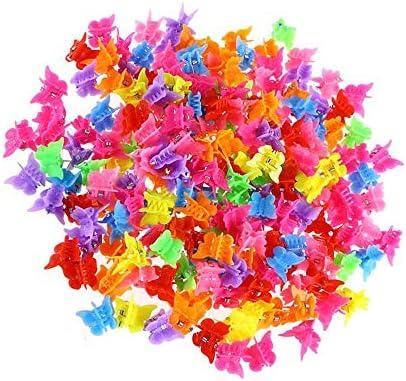 Kingsie ヘアクリップ ミニ 200個 髪爪クリップ バタフライ 蝶 可愛い カラフル キッズ 子供 髪飾り 髪留め ヘアアクセサリー